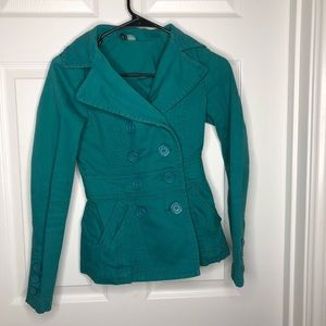 Jackets & Blazers - Teal double breasted pea coat